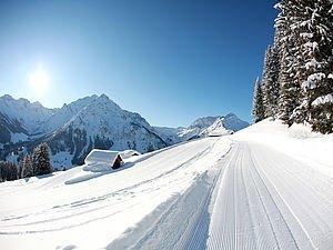 Verschneiter Wanderweg im Kleinwalsertal